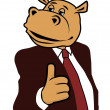 Stock Vector: Hippo in suit 6