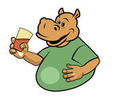 Hippo and a glass 2 — Stock Vector