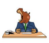 Hipopótamo en oficina — Vector de stock