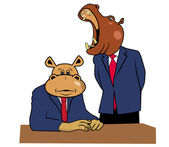 Hippos in office 2 — Stock Vector