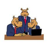 Hipopótamos en oficina 8 — Vector de stock