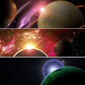 Planet with rising star — Stock Photo