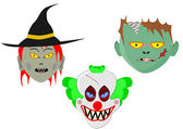 Halloween cartoon heads — Stock Vector