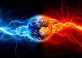 Earth between fire an ice lightning. Earth apocalypse concept. — Stock Photo