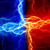 Fire and ice fractal lightning — Stock Photo