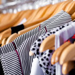 Multi-coloured wardrobe showcase, closeup — Stockfoto