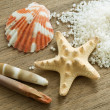 Seashells and bath pearls — Stock Photo