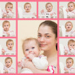 Stock Photo: Portrait of young mother with the baby and 10 portraits of the b