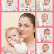 Stock Photo: Portrait of young mother with the baby and 6 portraits of the ba