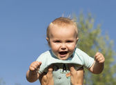 Outdoor portrait of the baby of 11 mouns old. — Stock Photo