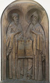 Memorial bas-relief to Anthony of the Caves and Theodosius Pechersky. — Stock Photo