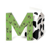 Paper milk and M letter — Stock Photo