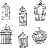 çeşitli kuş kafesleri, vector silhouettes — Stok Vektör