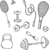 Vector silhouette of various sports equipment — Stock Vector