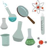 Vector illustration of various scientific elements — Stock Vector