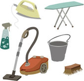 Vector illustration of various attributes for cleaning — Stock Vector