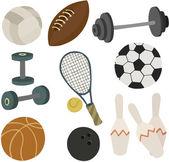 Vector illustration of various sports equipment — Stock Vector