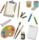 Vector illustration of various art supplies — Stock Vector