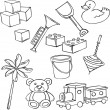 Vector illustration of silhouettes of various toys — Stock Vector