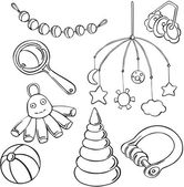 Ilustración vectorial de siluetas de varios juguetes — Vector de stock