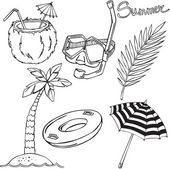 Vector illustration of silhouettes of various elements of the holiday at the sea — Stock Vector