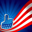 American Flag Thumbs up — Stock Vector