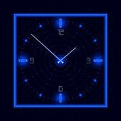 Reloj cósmico de neón — Vector de stock