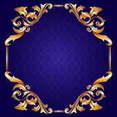 Vintage Frame with Golden Leafs on blue background — Cтоковый вектор