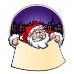 Santa with Christmas scroll — Stock Vector