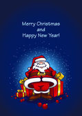 Santa Claus with gifts — Stockvector