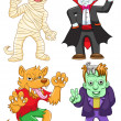 Funny cartoon halloween set. — Vektorgrafik