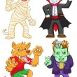 Funny cartoon halloween set. — Stock vektor
