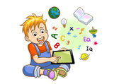 Boy playing tablet — Stock Vector