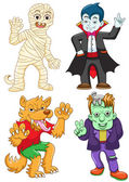 Funny cartoon halloween set. — Stock Vector