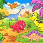 Cute dinosaurs in prehistoric scene — Stock Vector #28085913