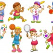 Illustration of children playing different sports — Stock Vector