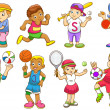 Illustration of children playing different sports — Stock Vector #28085951