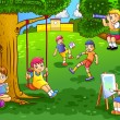 Illustration of a kids playing in the garden — Stock vektor