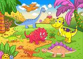 Cute dinosaurs in prehistoric scene — Stock Vector