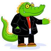 Crocodile businessman — Stock Photo