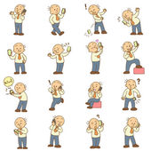 Set of funny cartoon man and mobile phone — Stock Photo