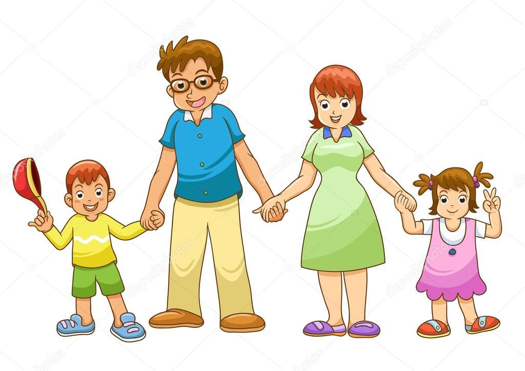 我家庭手牵手矢量卡通