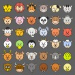 Icon Vector illustration of animal faces. — Stock Photo