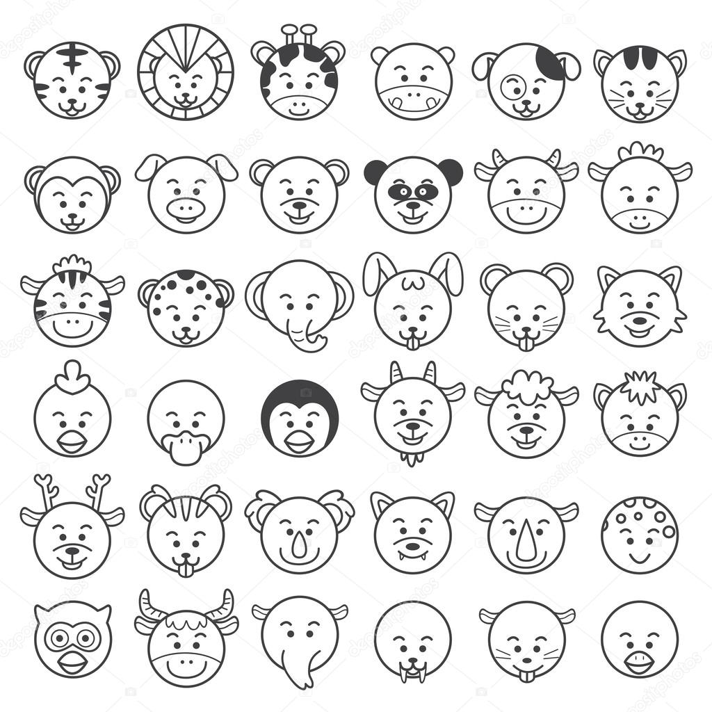 Line Drawing Animal Face : Icon illustration of animal faces — stock photo