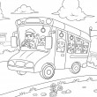 School bus outline for coloring book — Stock Photo #33159767