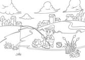 Fishing boy for coloring book. — Stock Photo