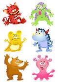 Set of funny cartoon monsters — Stock Photo