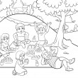 Picnic  for colouring. — Stock Photo