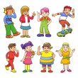 Set of happy cartoon kids — Stock Photo