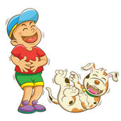 Boy and dog laughing — Stock Photo
